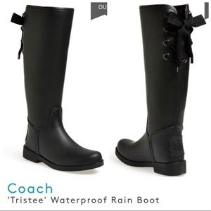 Coach Tristee Waterproof Rain Boots 37 7 lace up